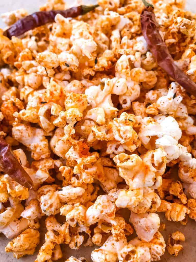 Close up picture of flavored popcorn