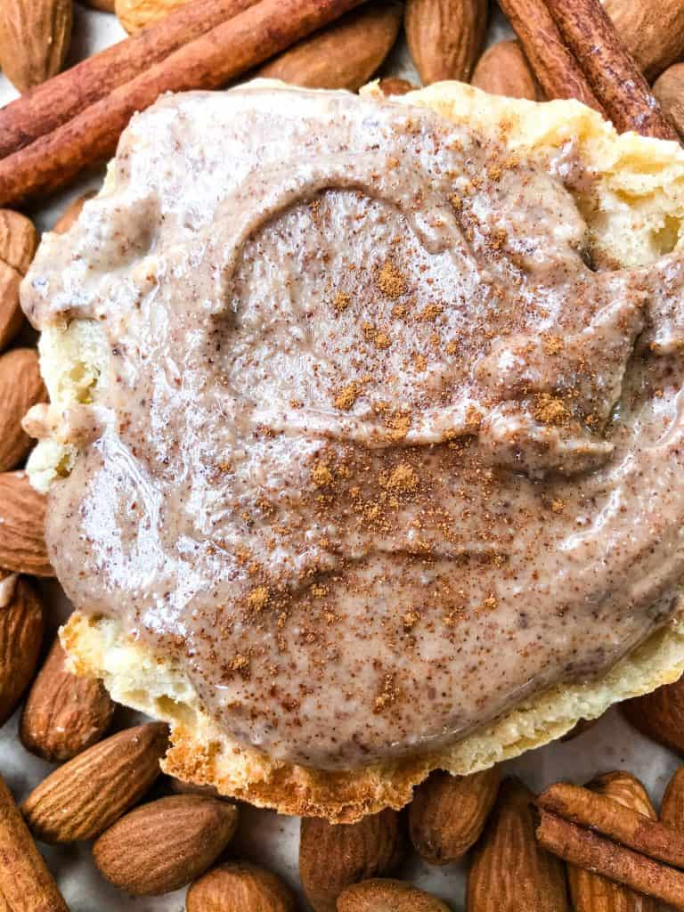 An English muffin with Homemade Cinnamon Almond Butter
