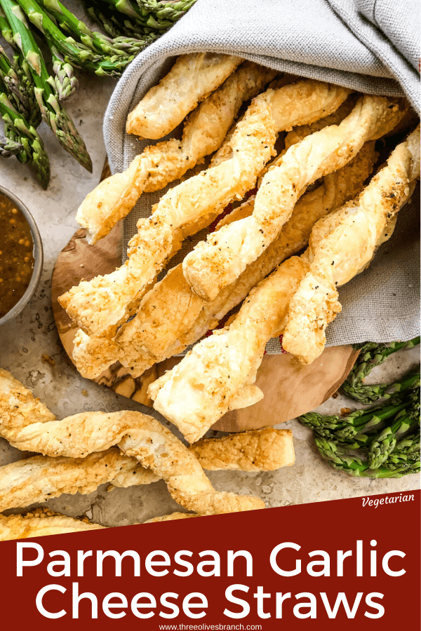 Pin image for Garlic Parmesan Cheese Straws with title at bottom