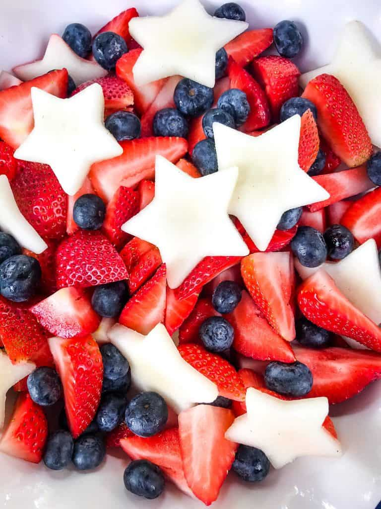 A close up of red, white, and blue fruit