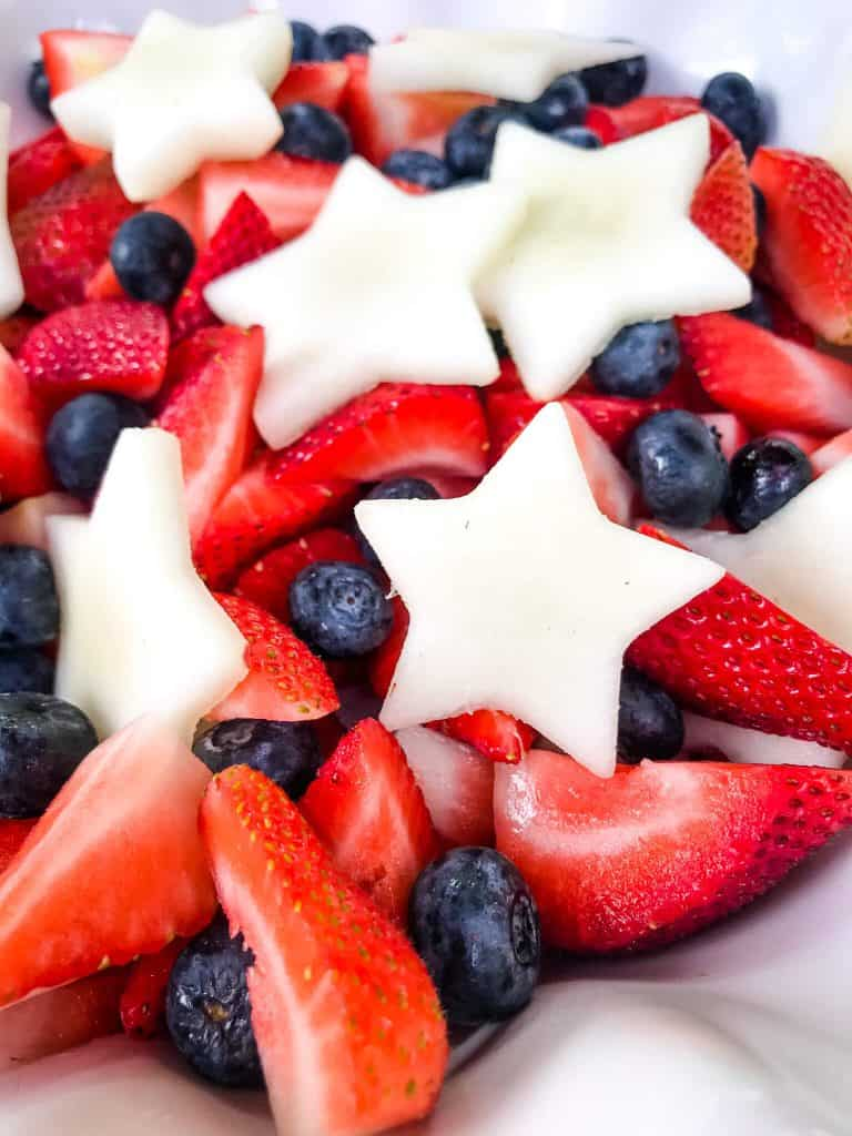 Close up of Patriotic Red, White, and Blue Fruit Salad