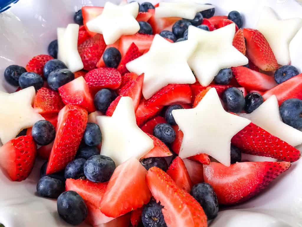 Strawberry, blueberry, and peach fruit salad