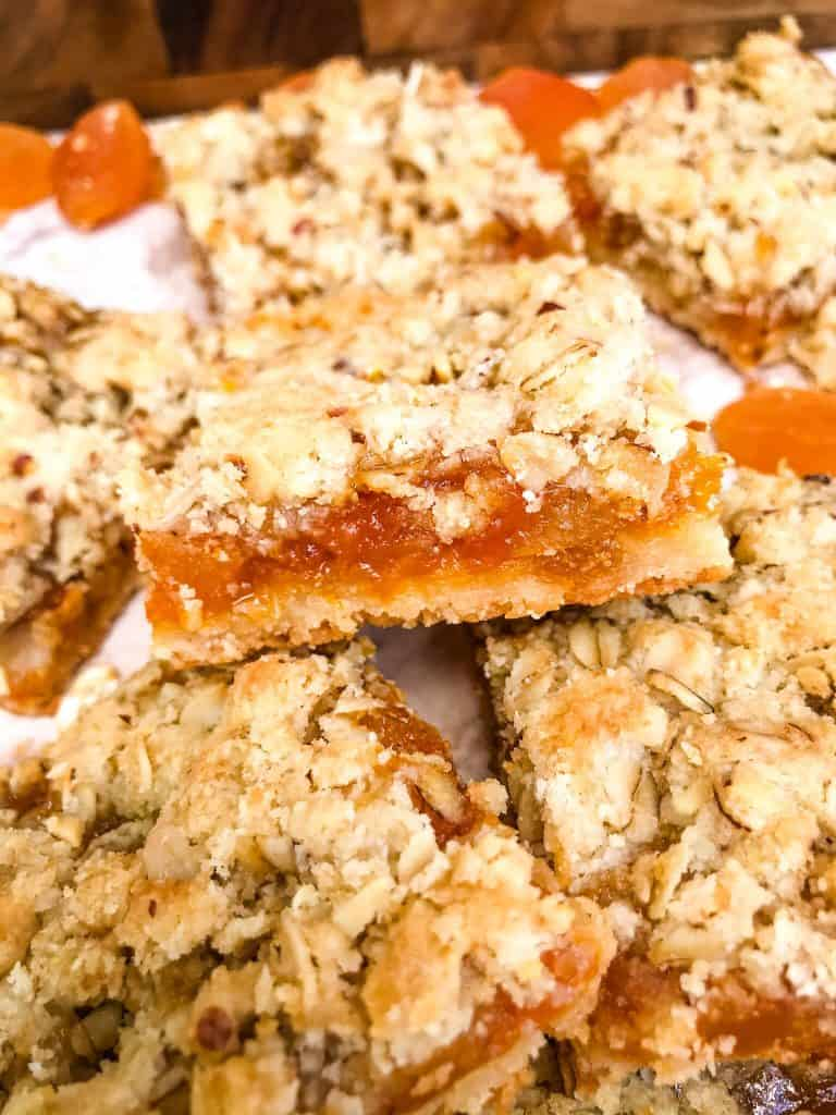 Apricot Crumble Bars inn a pile
