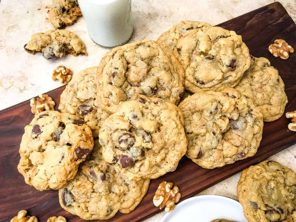 A pile of Real DoubleTree Cookies on a brown board