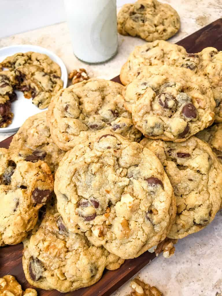 A pile of chocolate chip walnut cookies