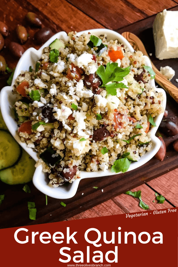 Pin image for Greek Quinoa Salad with title at bottom
