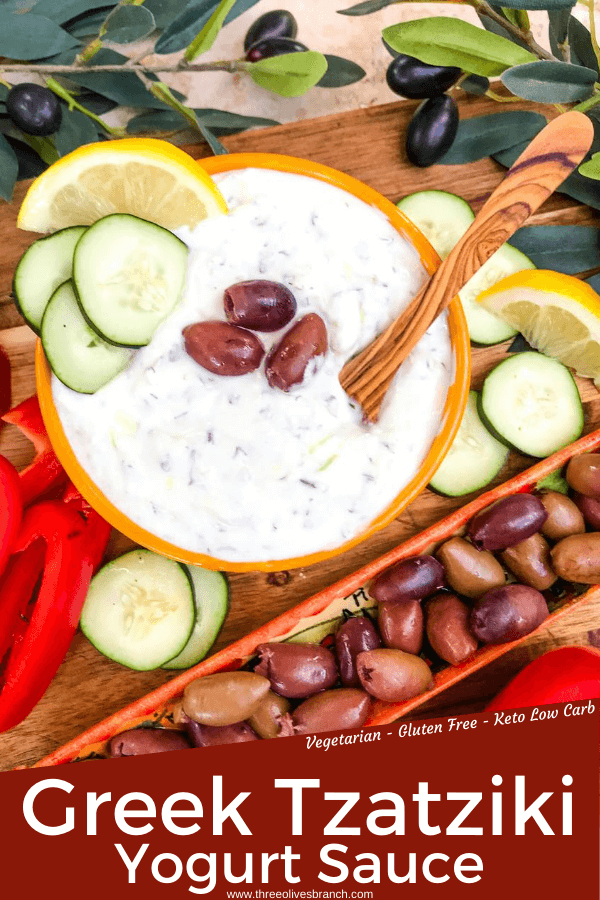 Pin image for Greek Tzatziki Yogurt Sauce with title at bottom