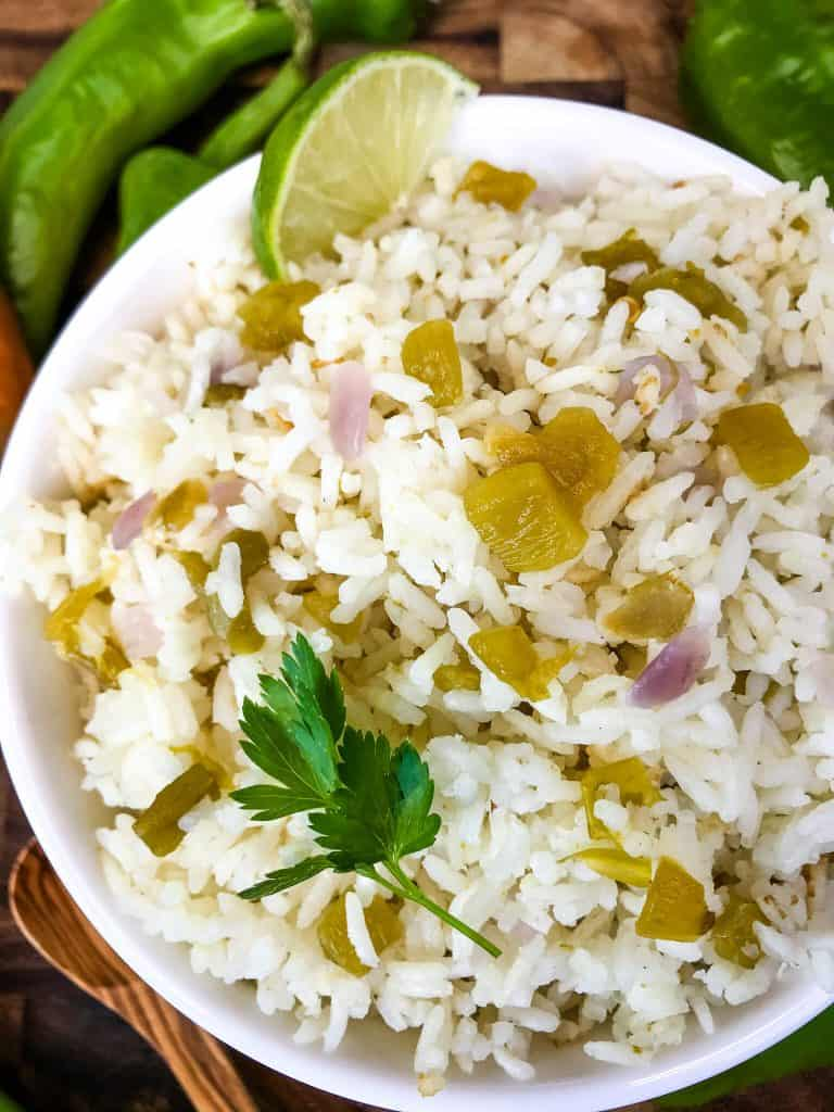 White bowl filled with Hatch Green Chile Rice