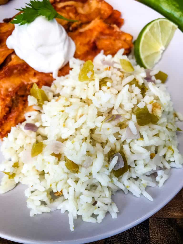 A close up of Hatch chile rice on a plate