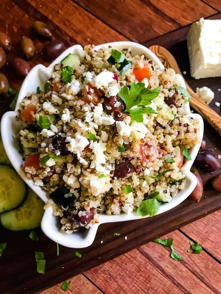 Quinoa in a white, artichoke shaped bowl