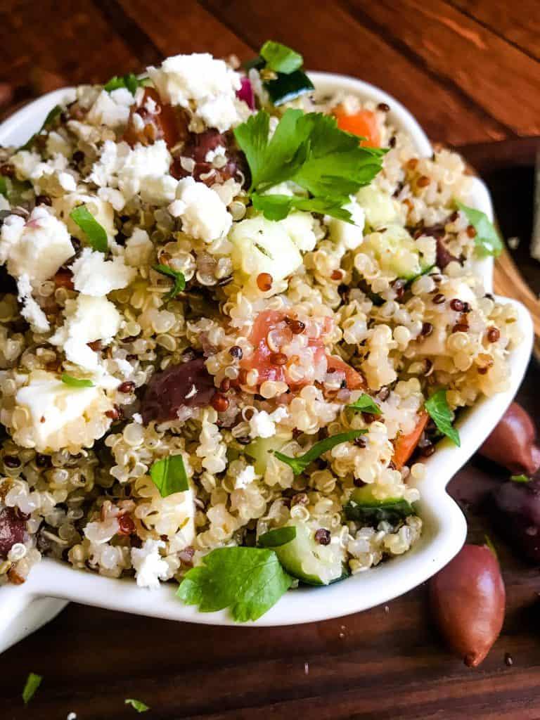 A close up of Greek Quinoa Salad in a bowl