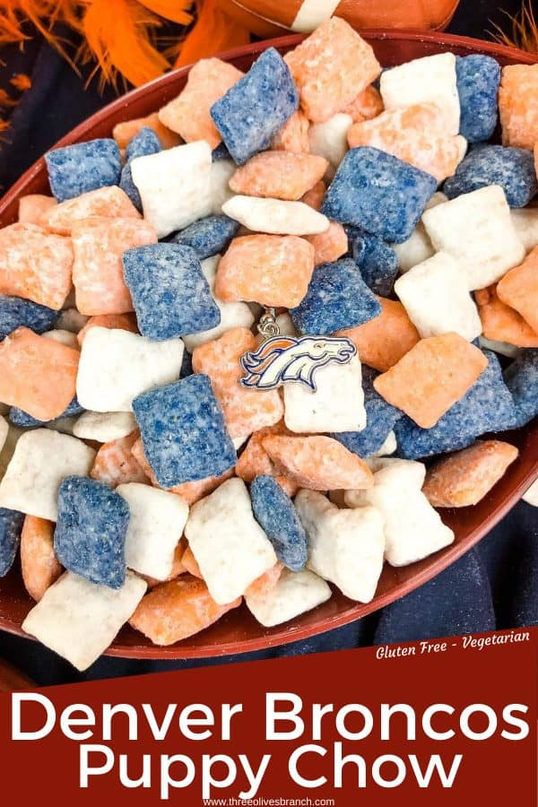 Pin image of Denver Broncos Puppy Chow with broncos logo and title at bottom