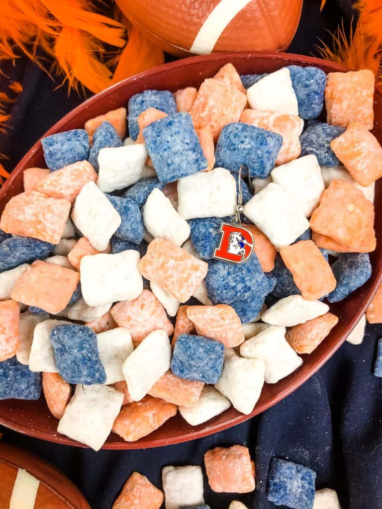 Denver Broncos Puppy Chow in a football bowl with the old logo
