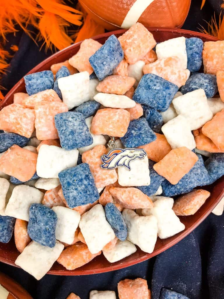 Denver Broncos Puppy Chow with the Broncos logo in a football bowl