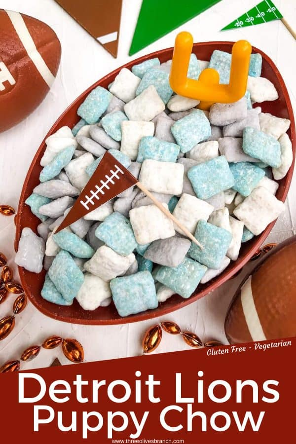 Pin for Detroit Lions Puppy Chow in a football bowl with title at bottom