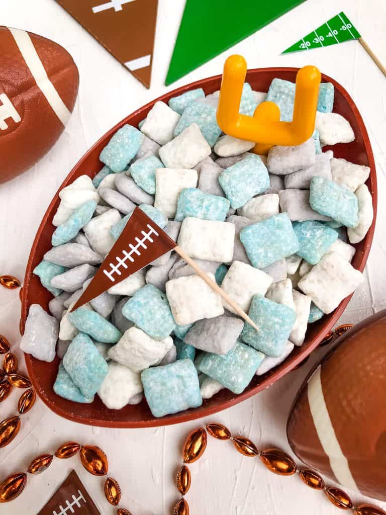 Detroit Lions Puppy Chow in a football bowl with a small goal post and football flag