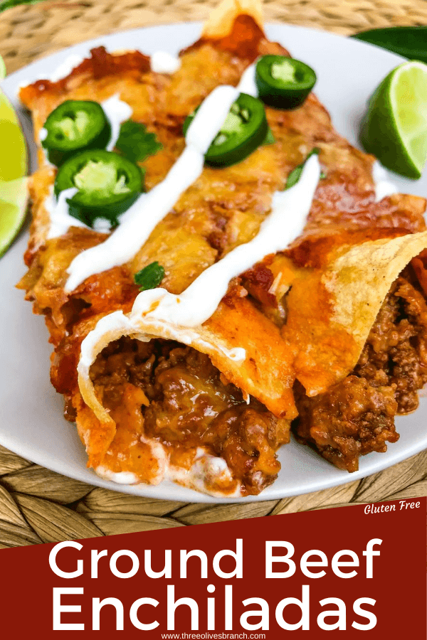 Pin images for Ground Beef Enchiladas with title at bottom