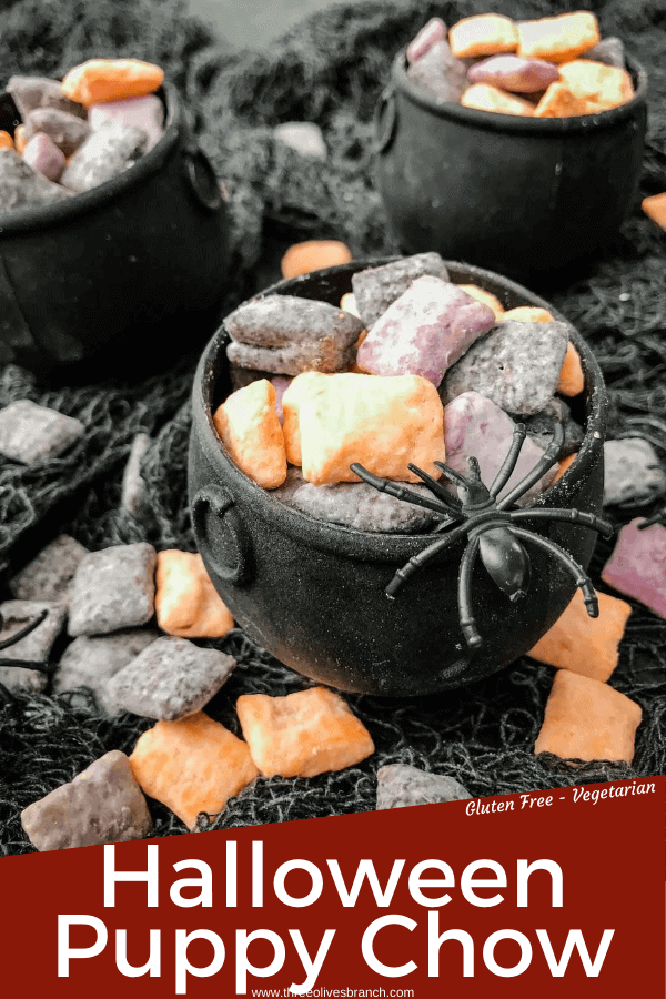 Pin image of Halloween Puppy Chow in a cauldron with title at bottom