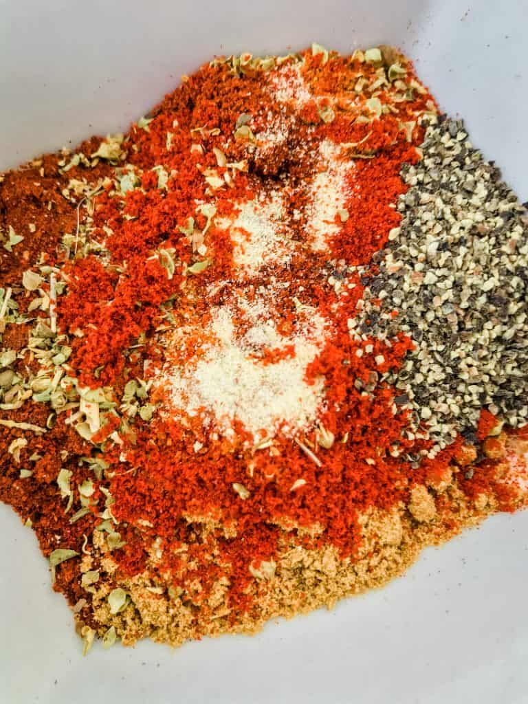 Al of the spices used piled in a bowl