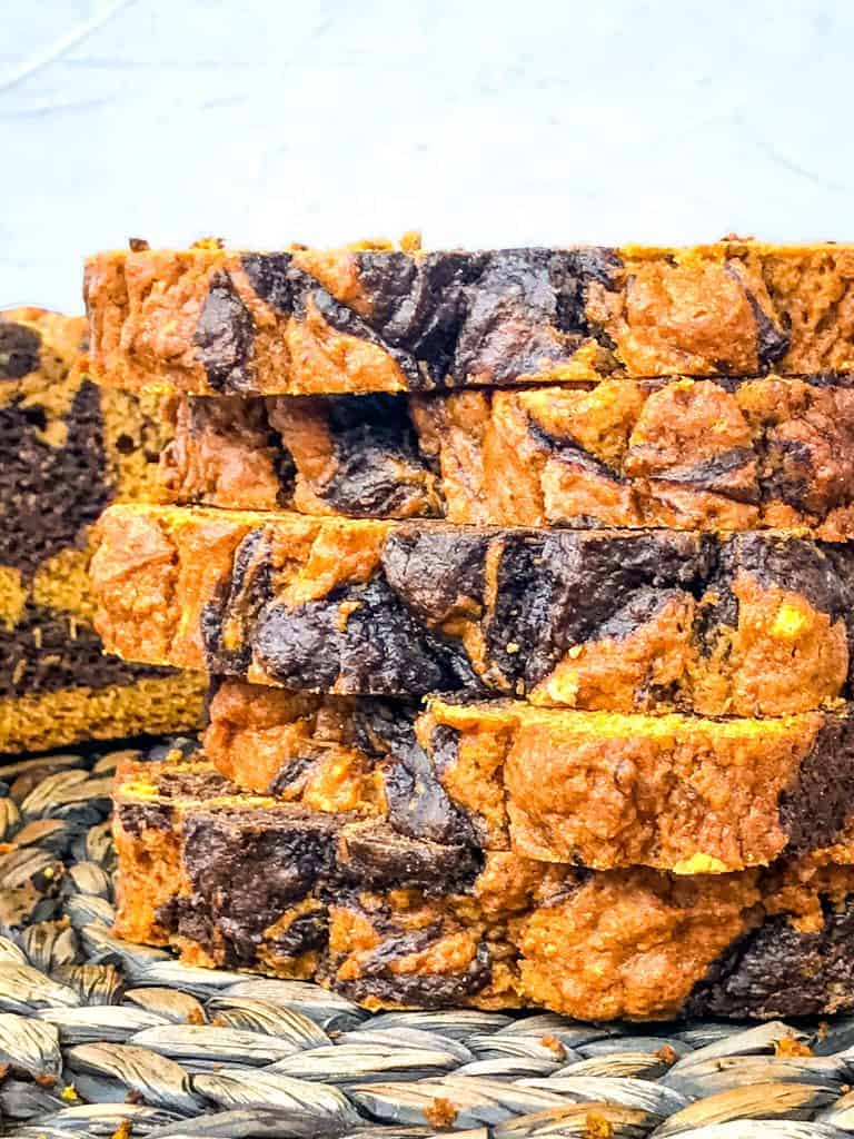 Stacked slice of Marbled Chocolate Pumpkin Bread