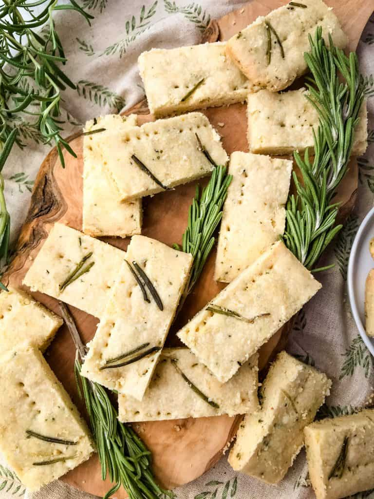 Olive Oil Rosemary Shortbread on a wood board
