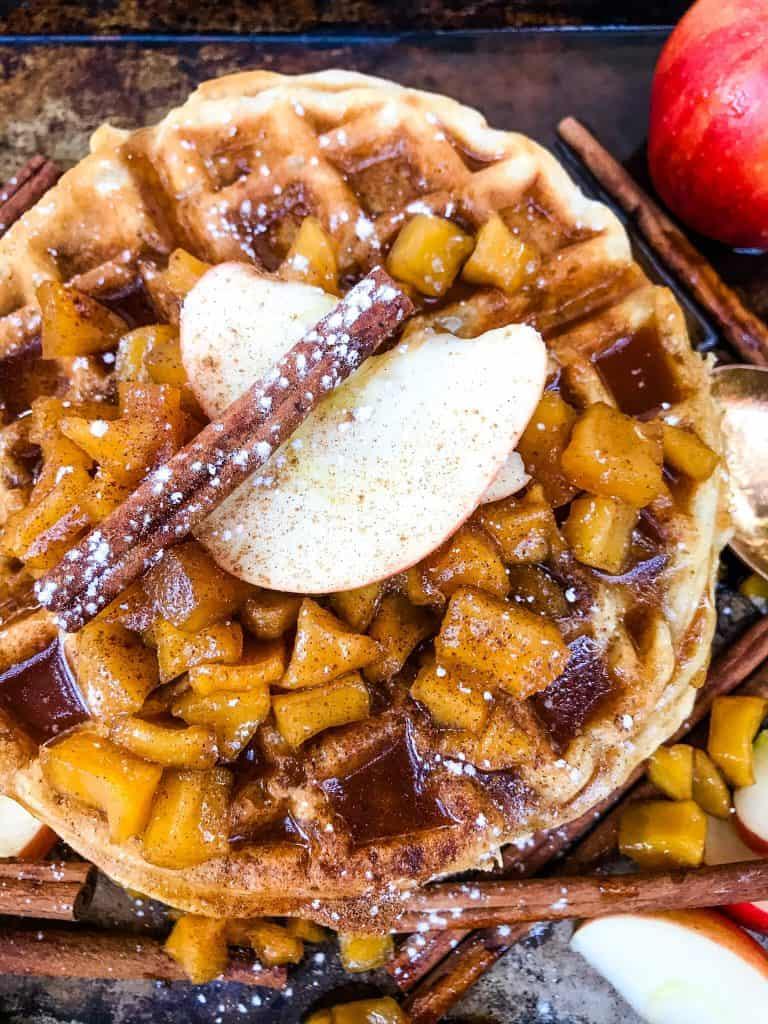 Cinnamon Apple Waffles on a baking sheet