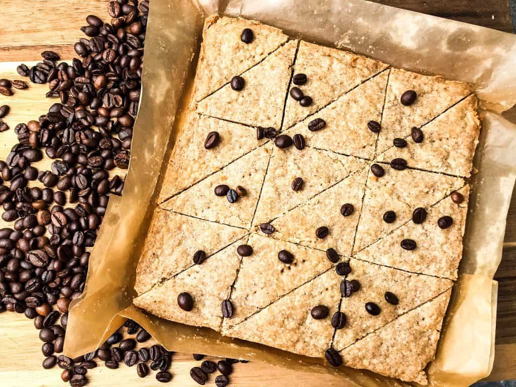 Coffee Shortbread Recipe cut into triangles on parchment paper