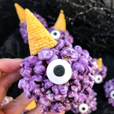 Purple People Eater Monster Halloween Popcorn Balls Recipe Story