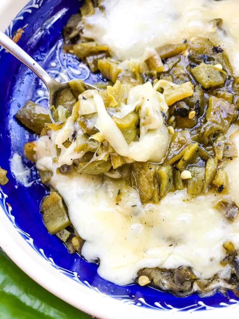 A close up of Hatch Green Chile Queso Fundido in a dish
