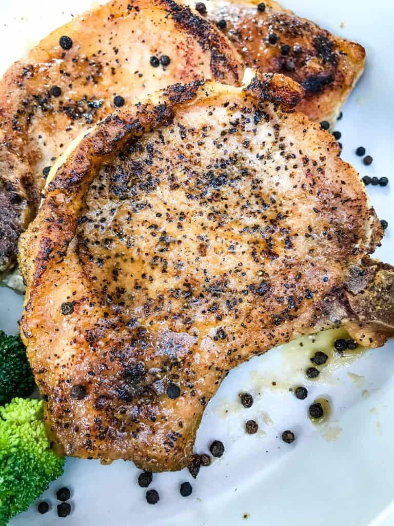 A close up of Peppercorn Garlic Pork Chops