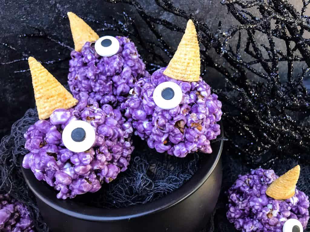 Purple People Eater Halloween Popcorn Balls