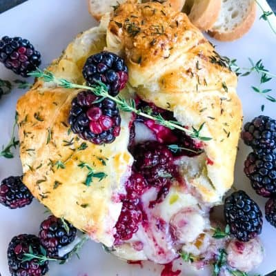 Thyme Blackberry Baked Brie in Puff Pastry