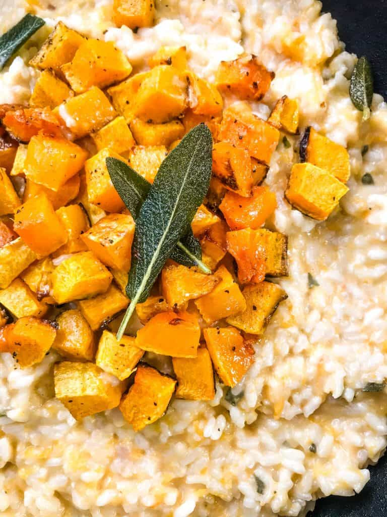A close up of Butternut Squash Sage Risotto