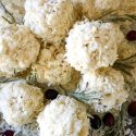 Close up of Snowball Popcorn Balls in a pile