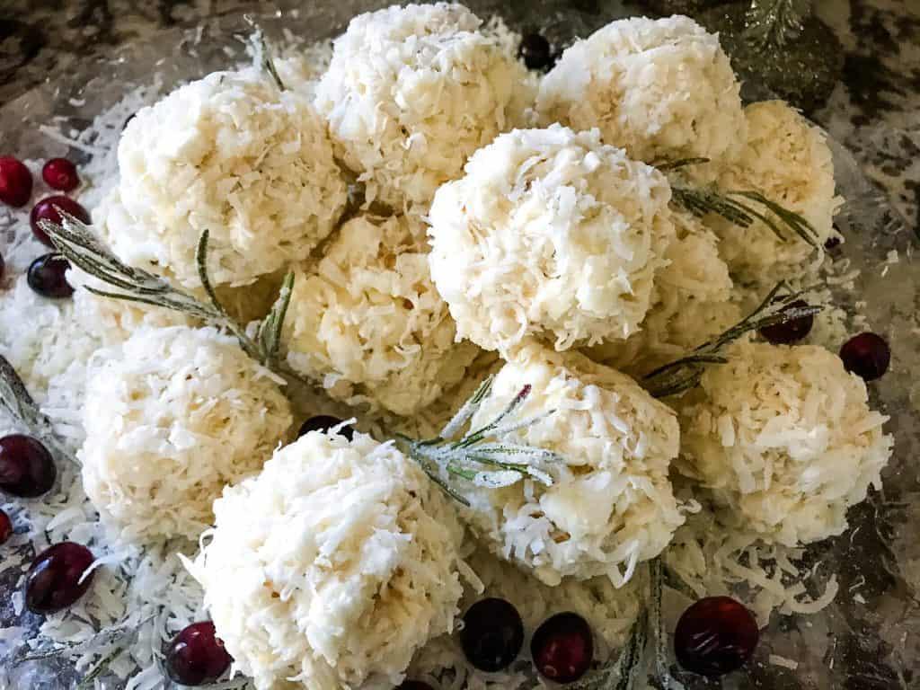 A pile of Snowball Popcorn Balls