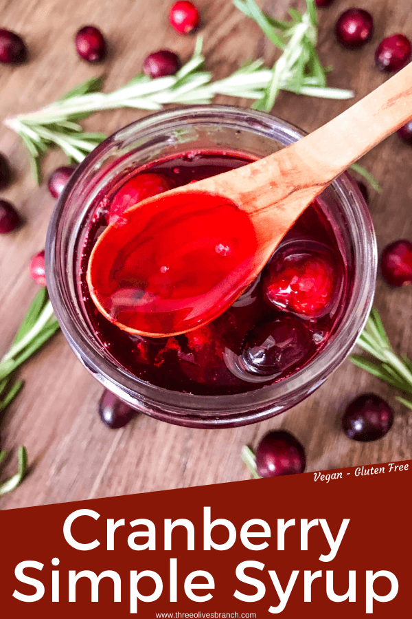 Pin image of Cranberry Simple Syrup in a jar with title at bottom