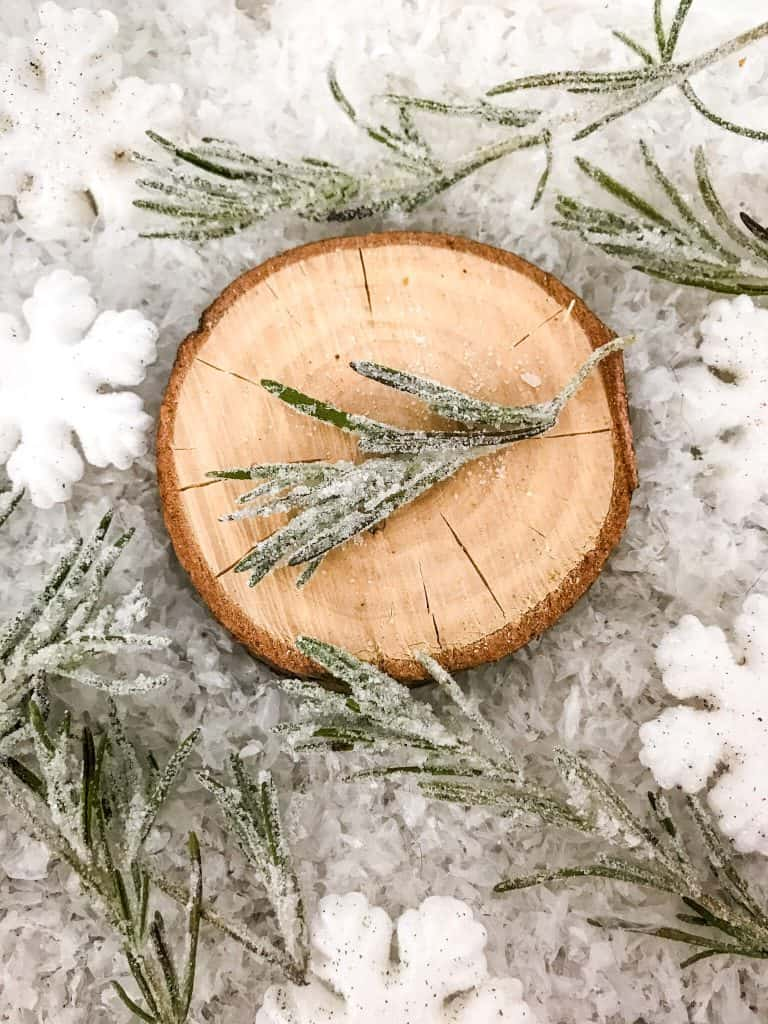 A piece of Sparkling Rosemary (Sugared Rosemary) on a slice of wood with more rosemary and snow around it