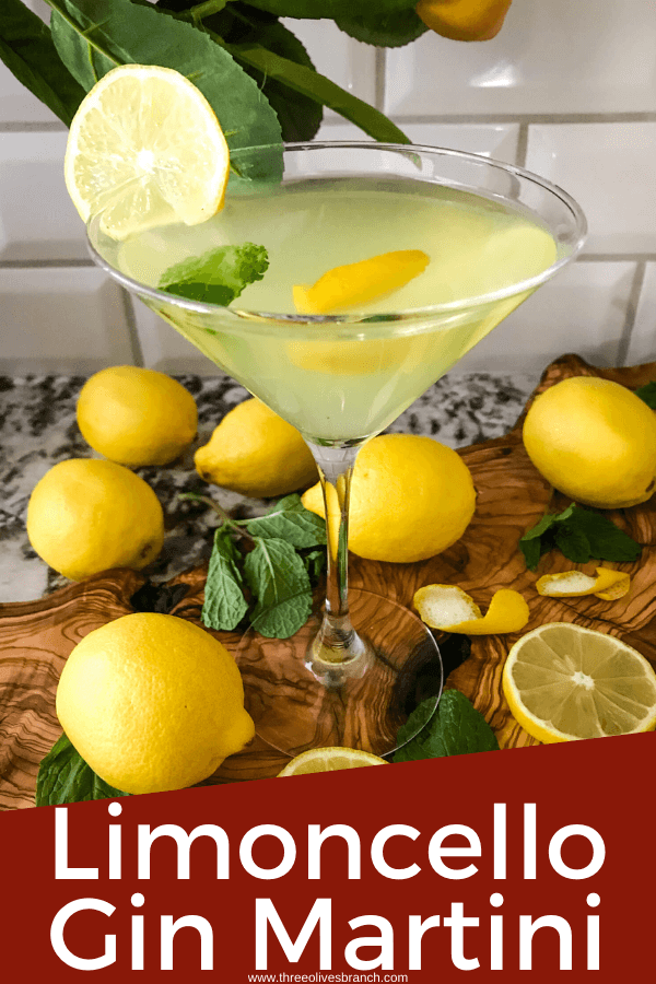 Pin image for Amalfi Martini Limoncello with a single martini and title at bottom