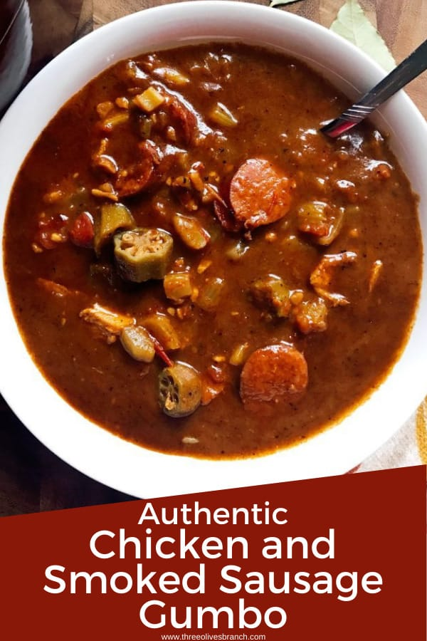 Pin for Bowl of Authentic Chicken and Smoked Sausage Gumbo with title at bottom