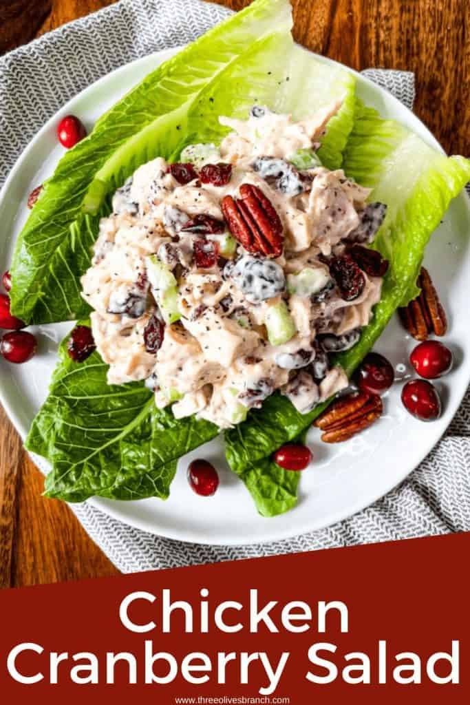 Pin image with a mound of Chicken Cranberry Salad on top of lettuce on a plate with title at bottom