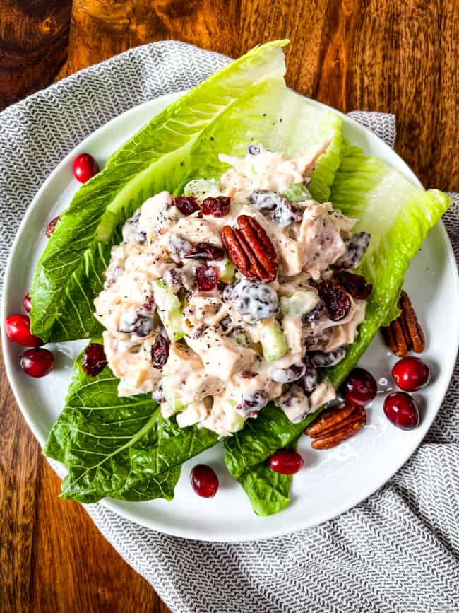 Top view of a pile of Cranberry Chicken Salad on lettuce on a plate