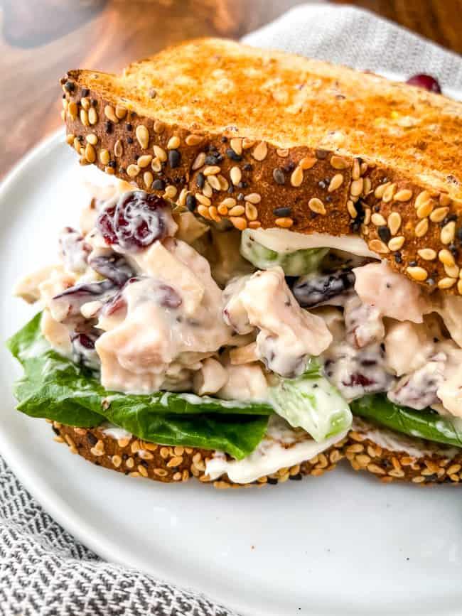 Cranberry Chicken Salad in a sandwich