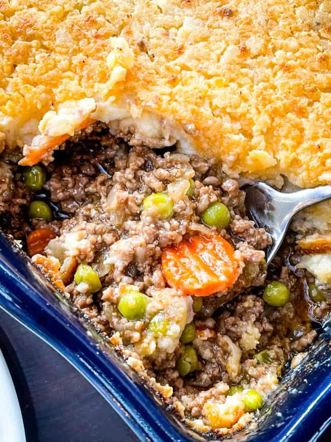 A spoon in the Guinness Shepherd's Pie casserole dish