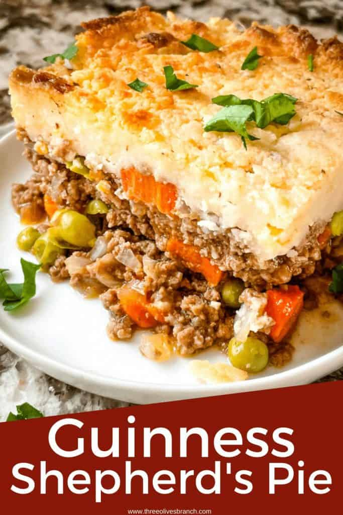 Pin image for Guinness Shepherd's Pie with a portion on a white plate and title at bottom