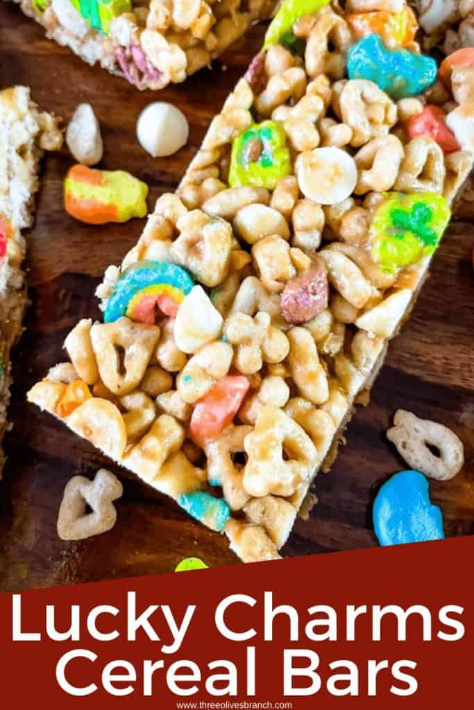 Pin image for Lucky Charms Cereal Bar of a bar close up with title at bottom