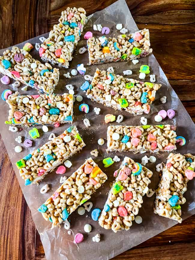 Several treats on parchment with cereal pieces