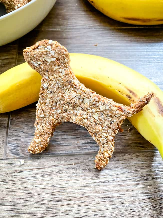 A treat propped up against a banana