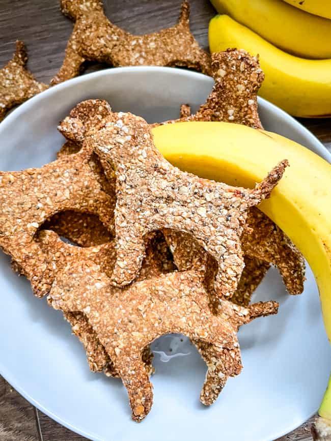 A bowl of Banana Peanut Butter Dog Treats with a banana