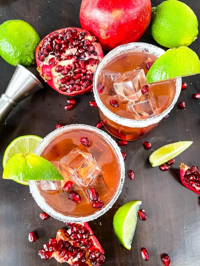 Top view of two Pomegranate Margaritas