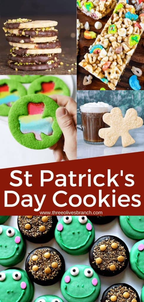 Pin image for St Patrick's Day Cookies with several cookies and title